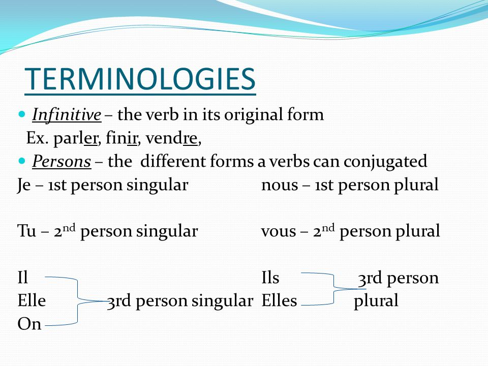 TERMINOLOGIES Infinitive – the verb in its original form