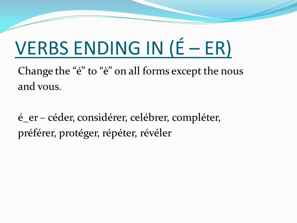 VERBS ENDING IN (É – ER)