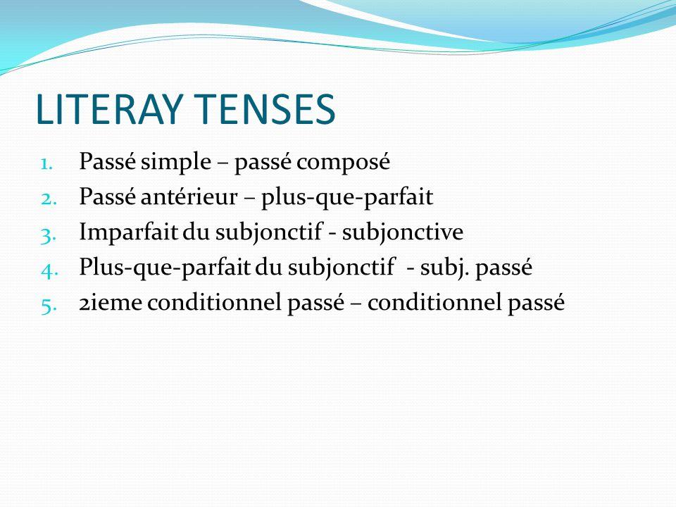 LITERAY TENSES Passé simple – passé composé