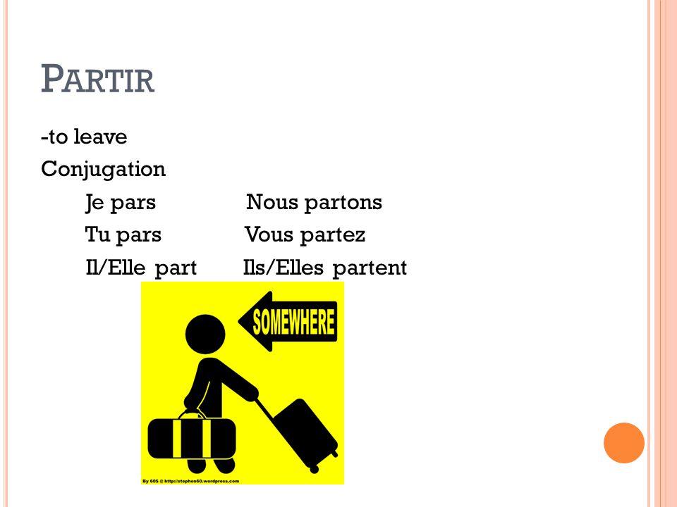Partir -to leave Conjugation Je pars Nous partons Tu pars Vous partez Il/Elle part Ils/Elles partent