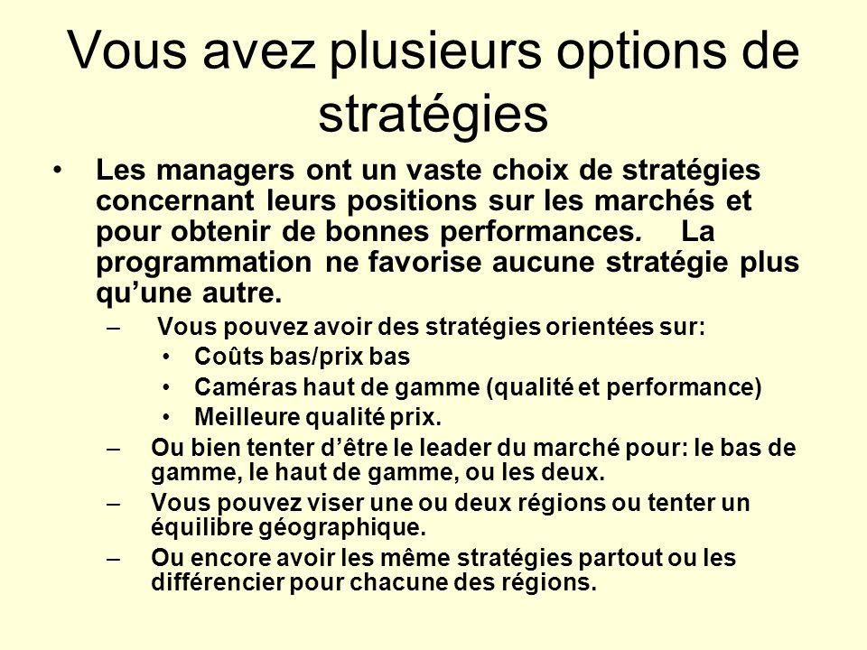 Vous avez plusieurs options de stratégies