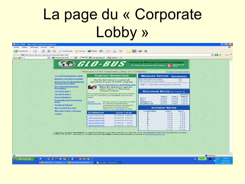 La page du « Corporate Lobby »