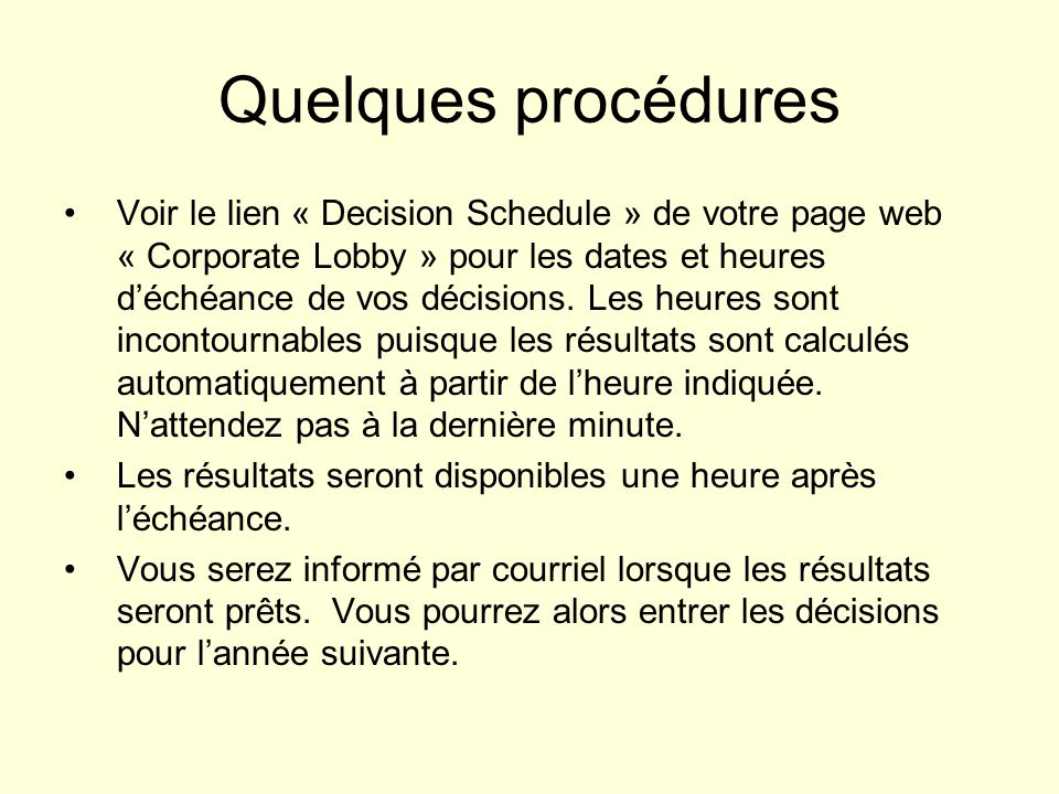 Quelques procédures