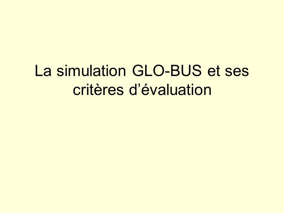 La simulation GLO-BUS et ses critères d'évaluation