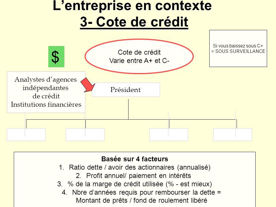 L'entreprise en contexte 3- Cote de crédit