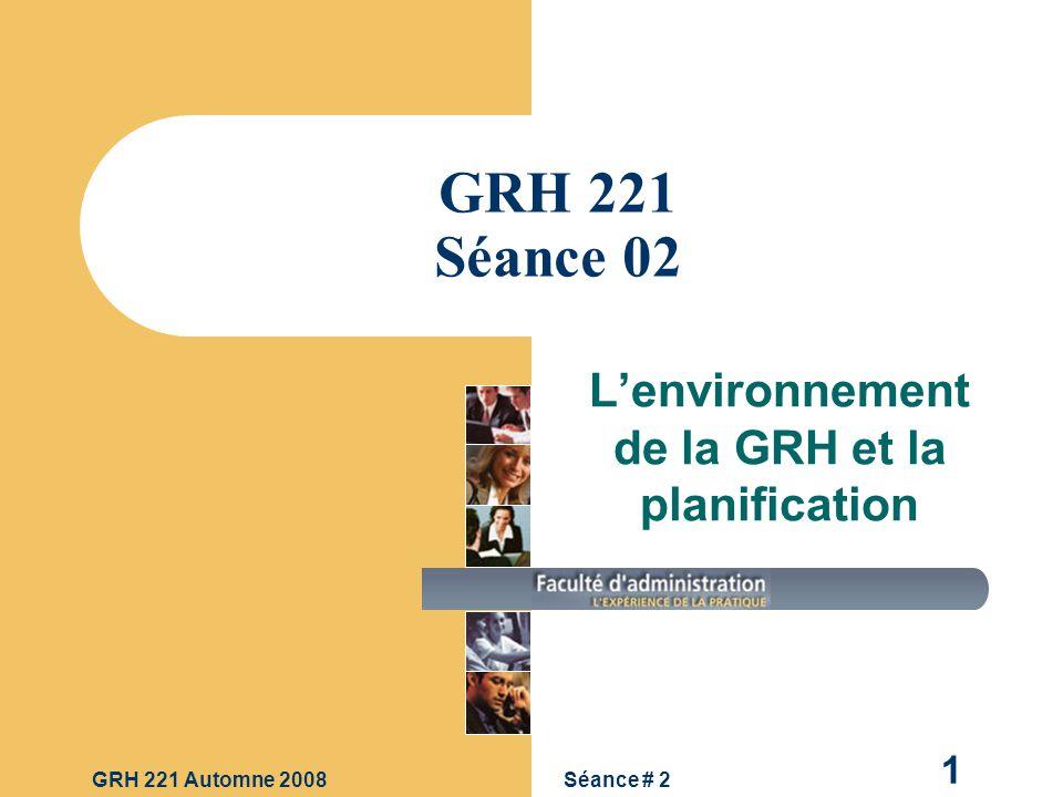 L'environnement de la GRH et la planification