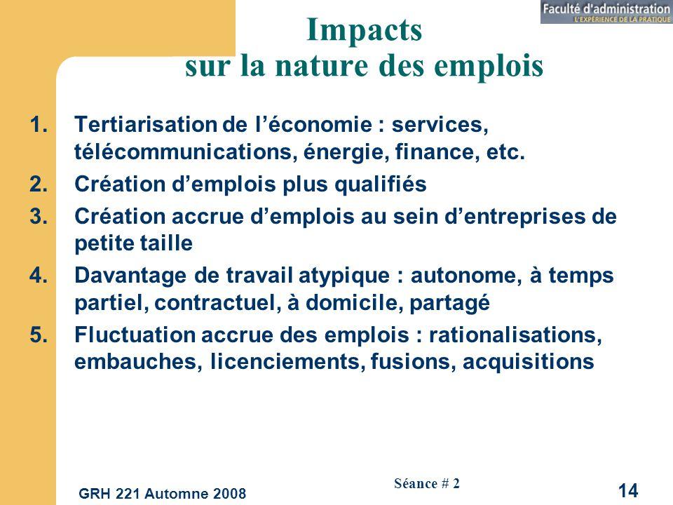 Impacts sur la nature des emplois