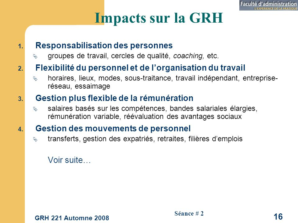 Impacts sur la GRH Responsabilisation des personnes