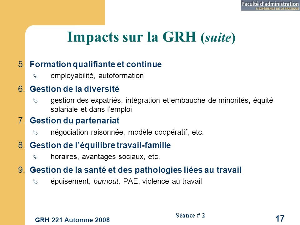 Impacts sur la GRH (suite)
