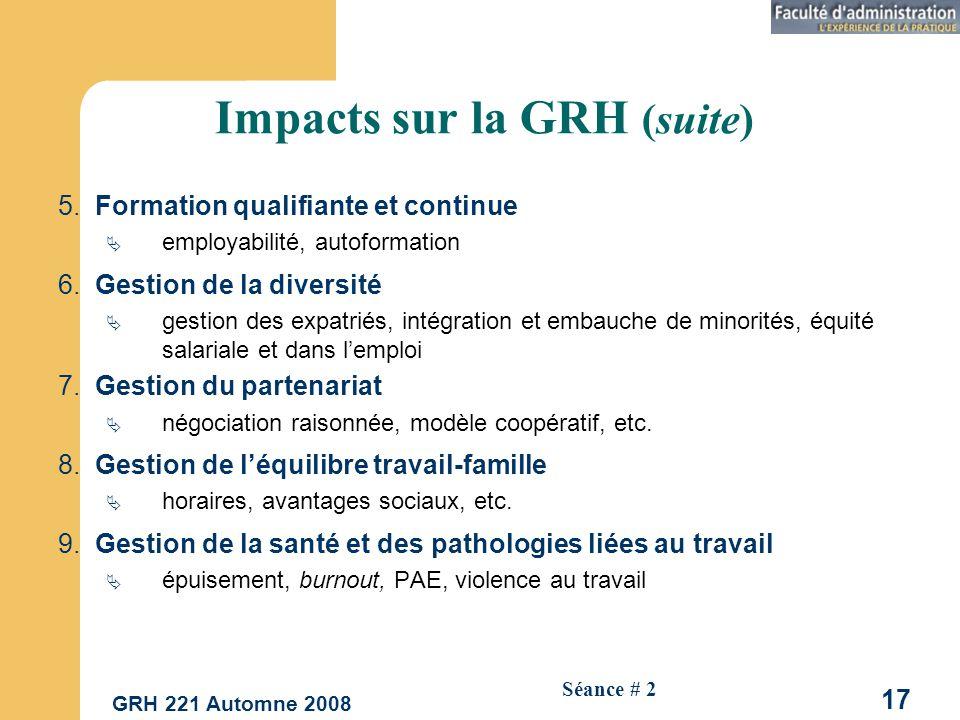 Impacts sur la GRH (suite)