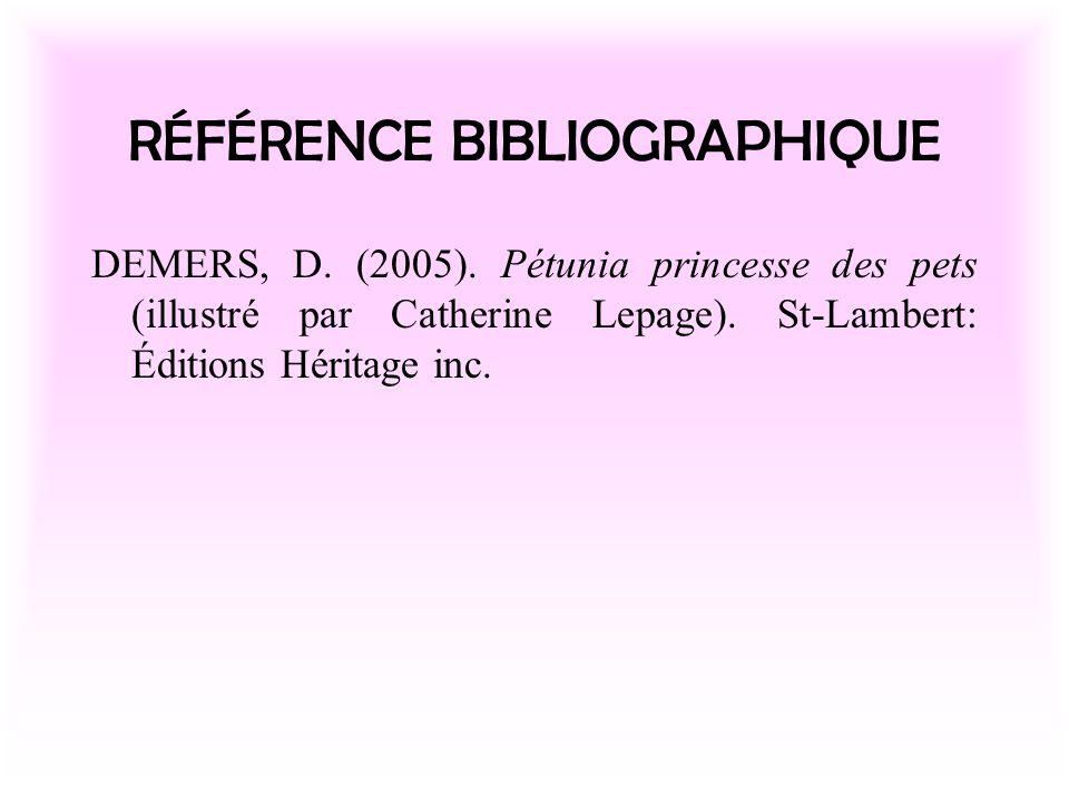 RÉFÉRENCE BIBLIOGRAPHIQUE