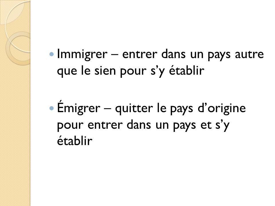 Immigrer – entrer dans un pays autre que le sien pour s'y établir