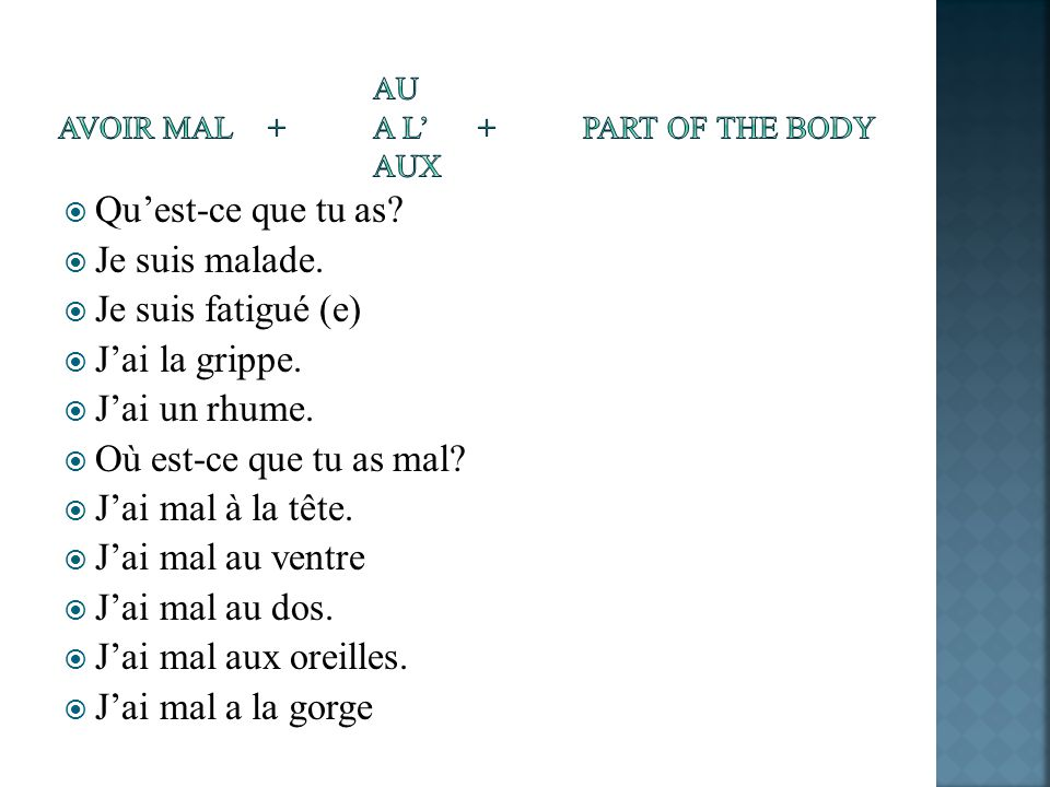 au avoir mal + a l' + part of the body aux