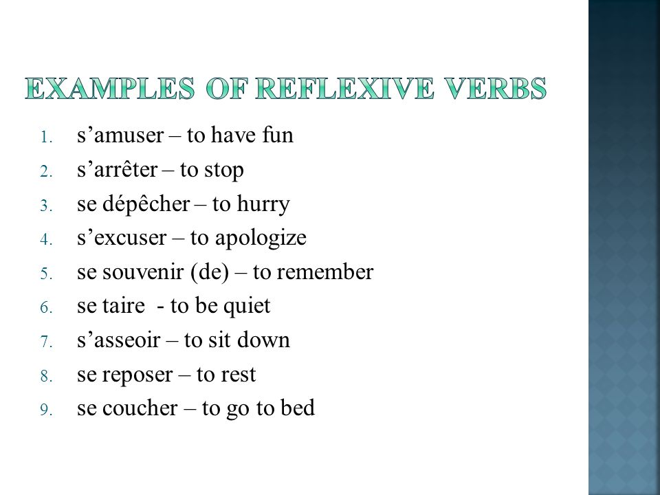 EXAMPLES OF REFLEXIVE VERBS