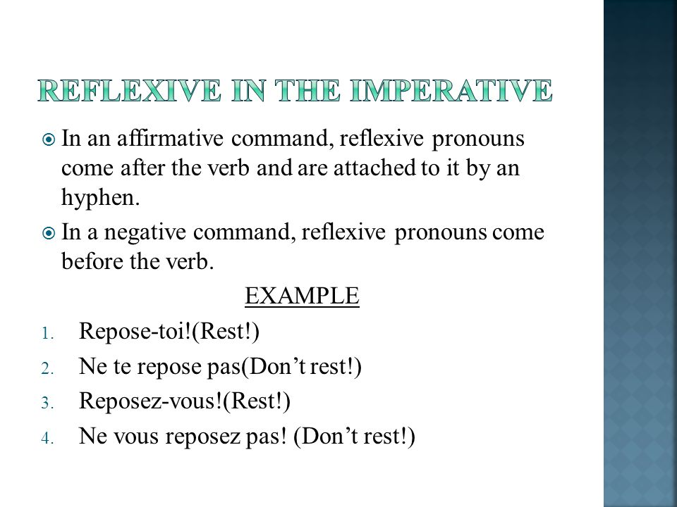 Reflexive in the imperative