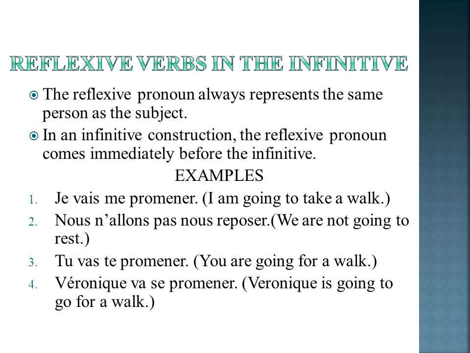 Reflexive verbs in the infinitive