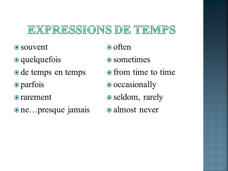 Expressions de temps souvent quelquefois de temps en temps parfois