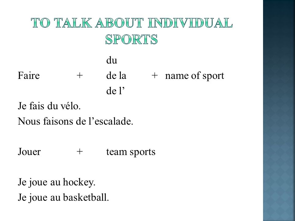 To talk about individual sports