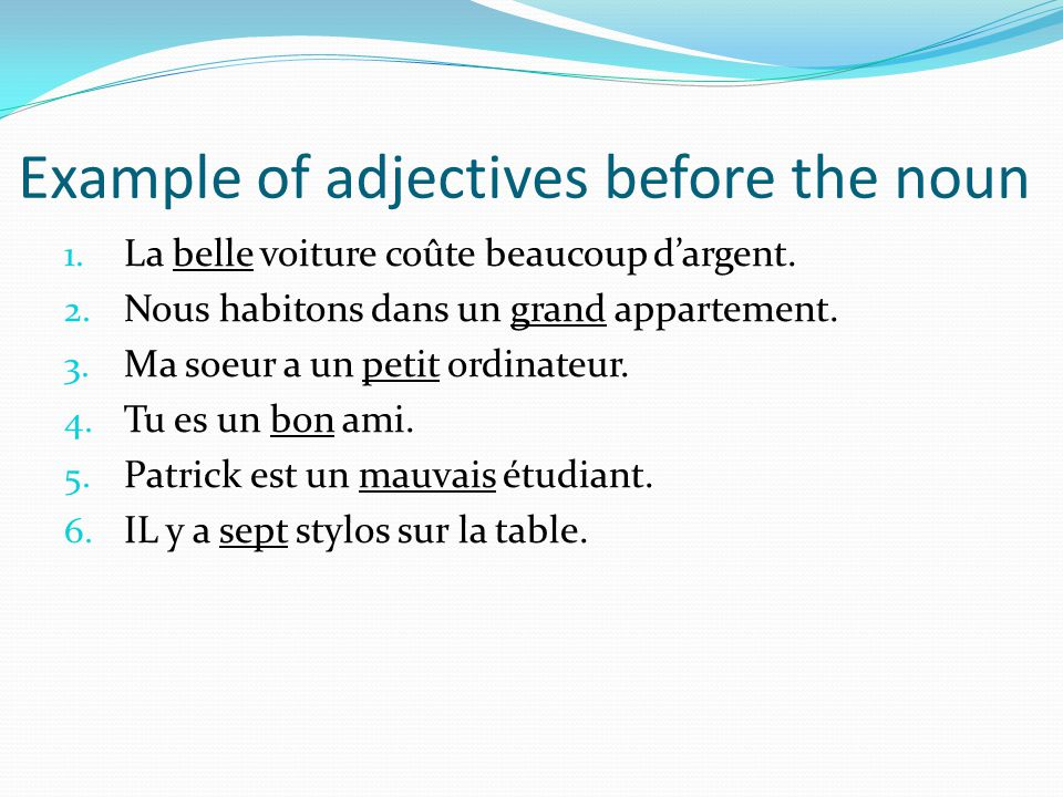 Example of adjectives before the noun