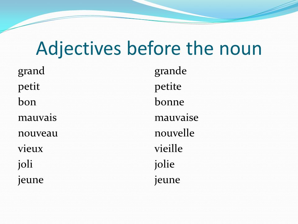 Adjectives before the noun