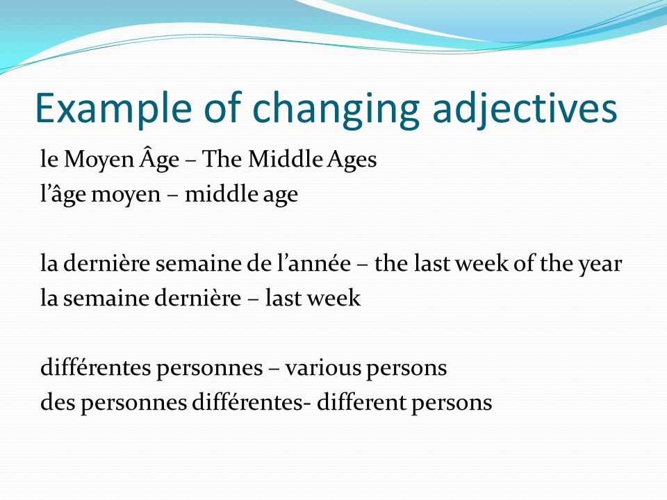 Example of changing adjectives