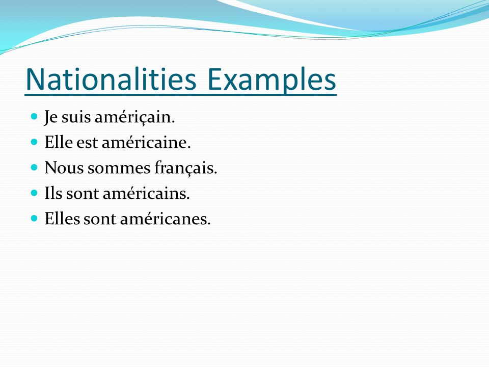 Nationalities Examples