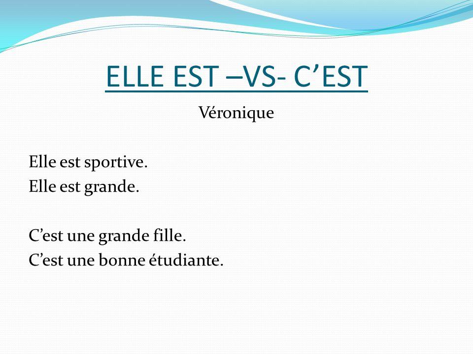 ELLE EST –VS- C'EST Véronique Elle est sportive. Elle est grande.