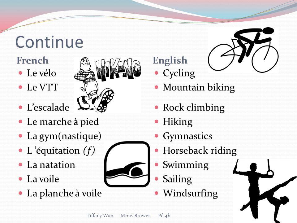 Continue French English Le vélo Le VTT L'escalade Le marche à pied