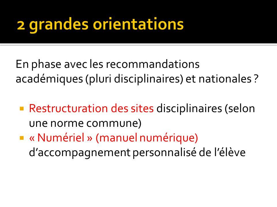 2 grandes orientations En phase avec les recommandations académiques (pluri disciplinaires) et nationales