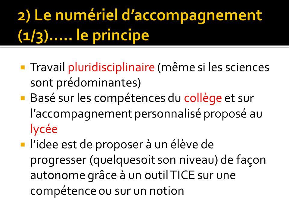 2) Le numériel d'accompagnement (1/3)….. le principe