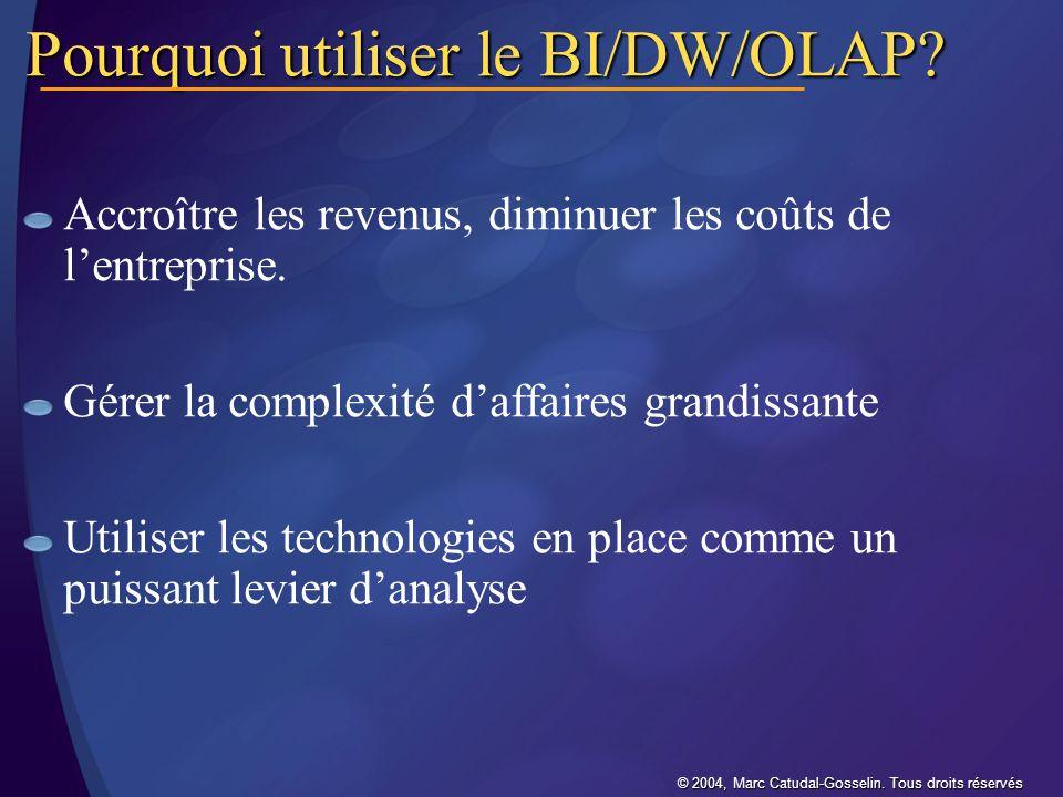 Pourquoi utiliser le BI/DW/OLAP