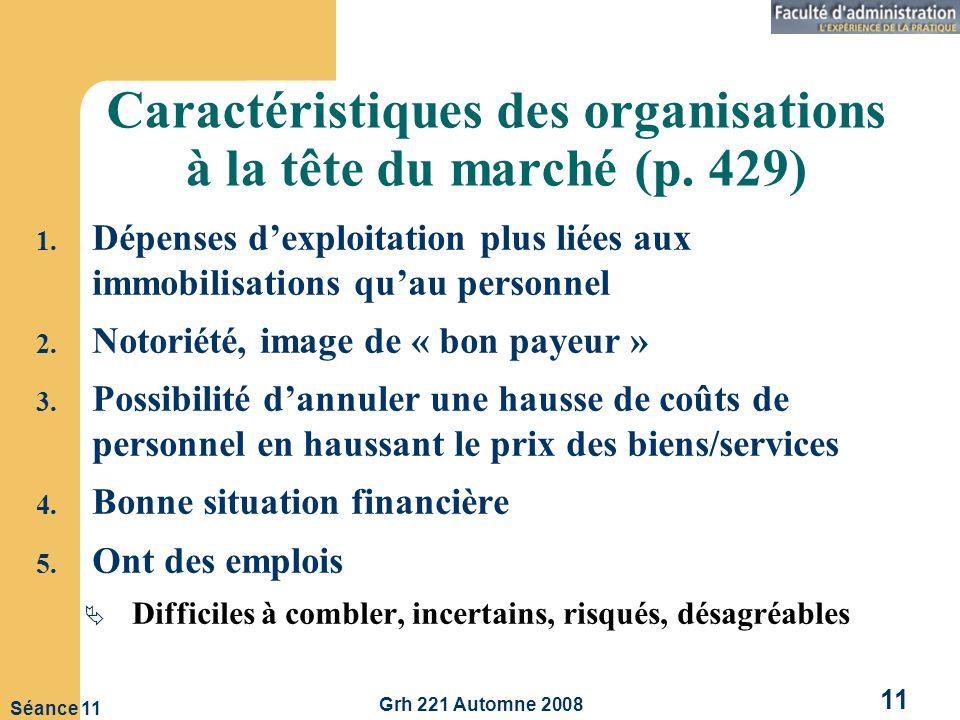 Caractéristiques des organisations à la tête du marché (p. 429)
