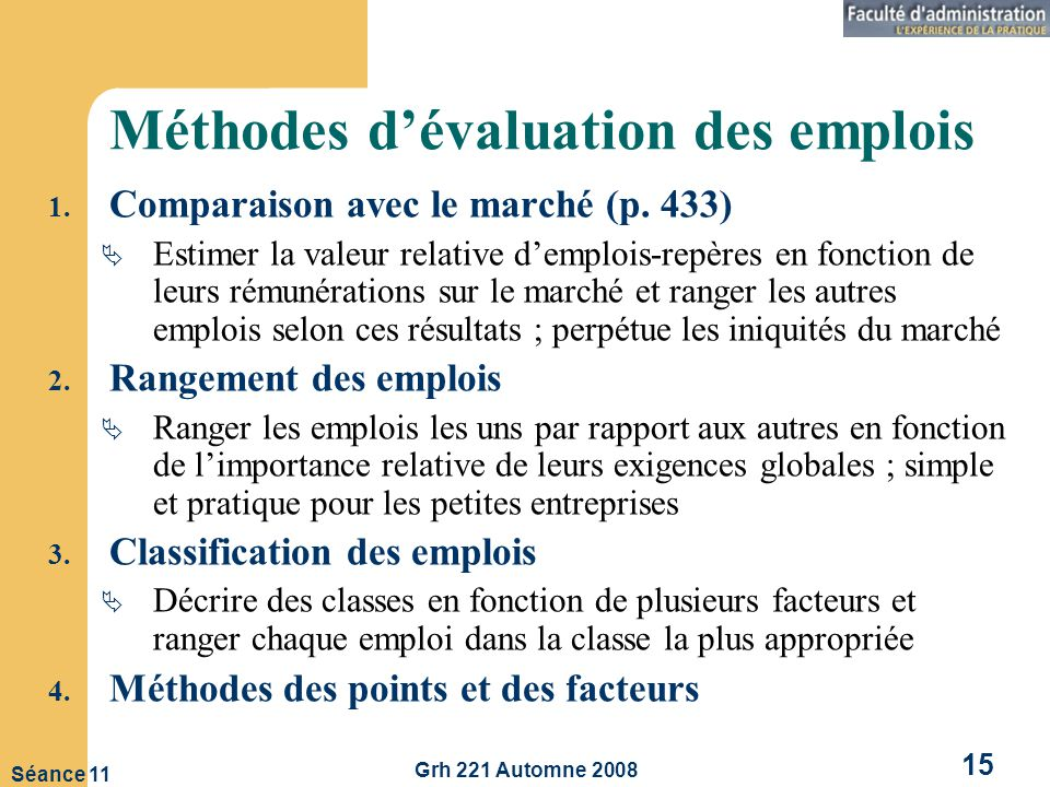 Méthodes d'évaluation des emplois