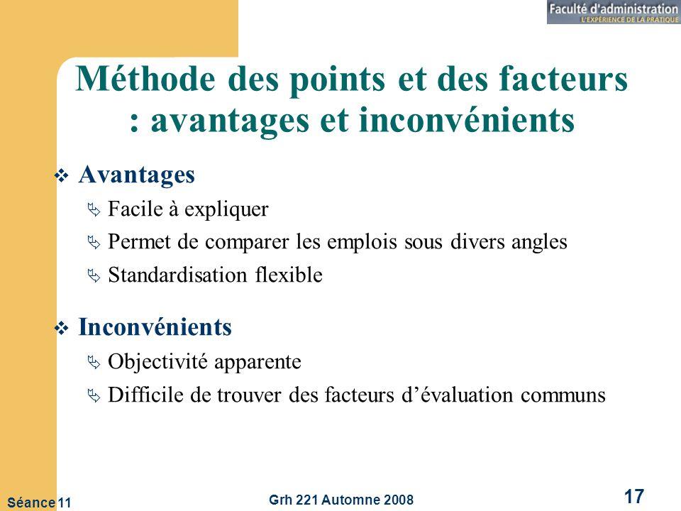 Méthode des points et des facteurs : avantages et inconvénients