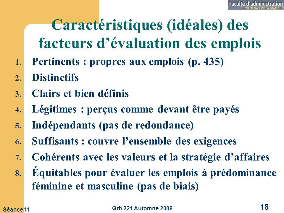 Caractéristiques (idéales) des facteurs d'évaluation des emplois