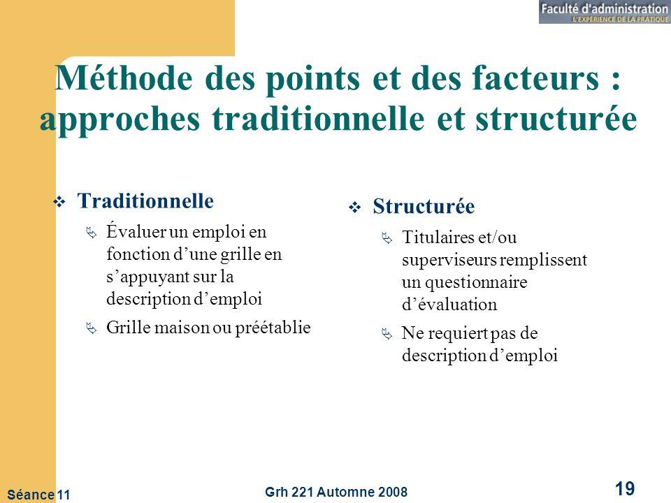 Méthode des points et des facteurs : approches traditionnelle et structurée