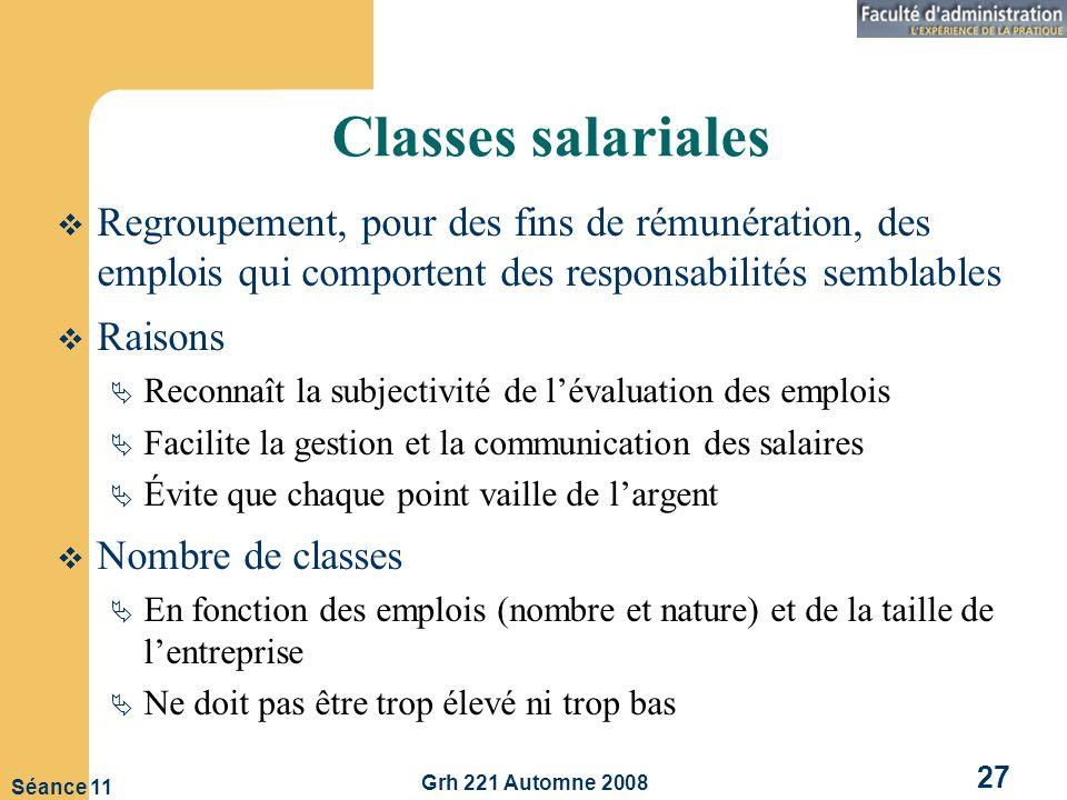 Classes salariales Regroupement, pour des fins de rémunération, des emplois qui comportent des responsabilités semblables.