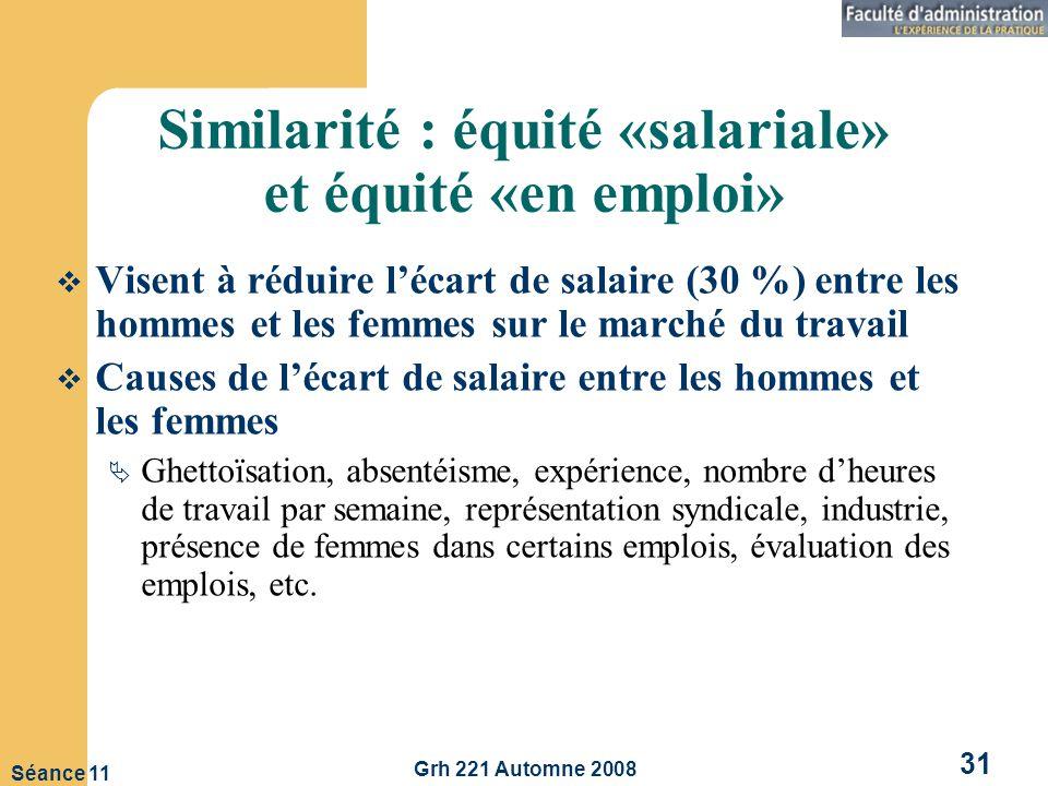 Similarité : équité «salariale» et équité «en emploi»