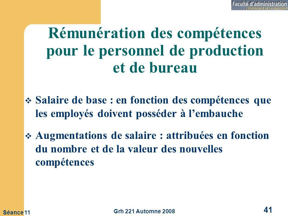 Rémunération des compétences pour le personnel de production et de bureau
