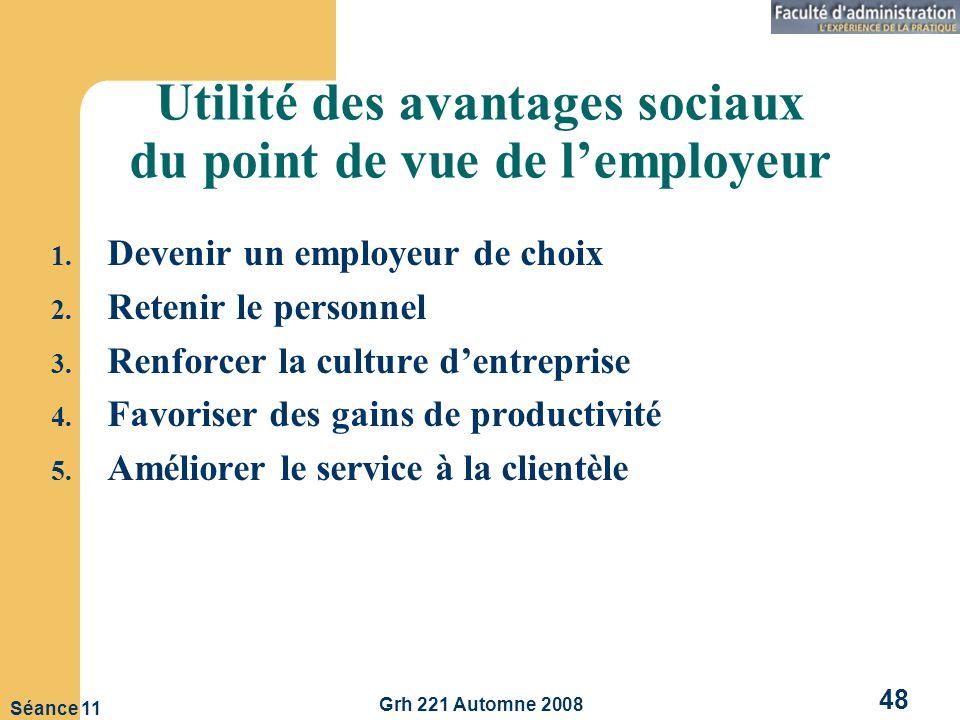 Utilité des avantages sociaux du point de vue de l'employeur