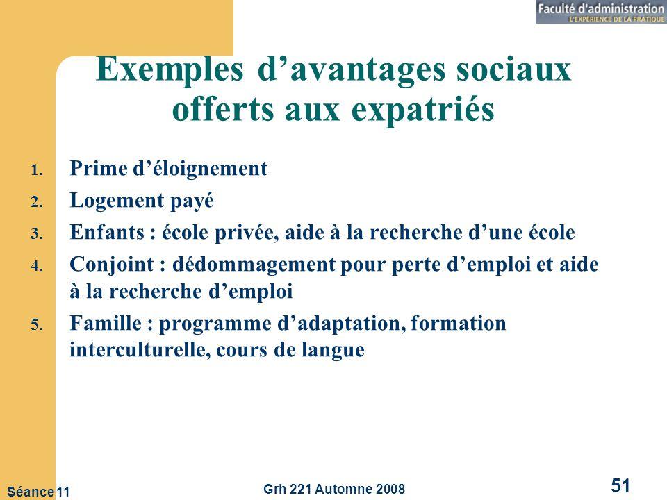 Exemples d'avantages sociaux offerts aux expatriés