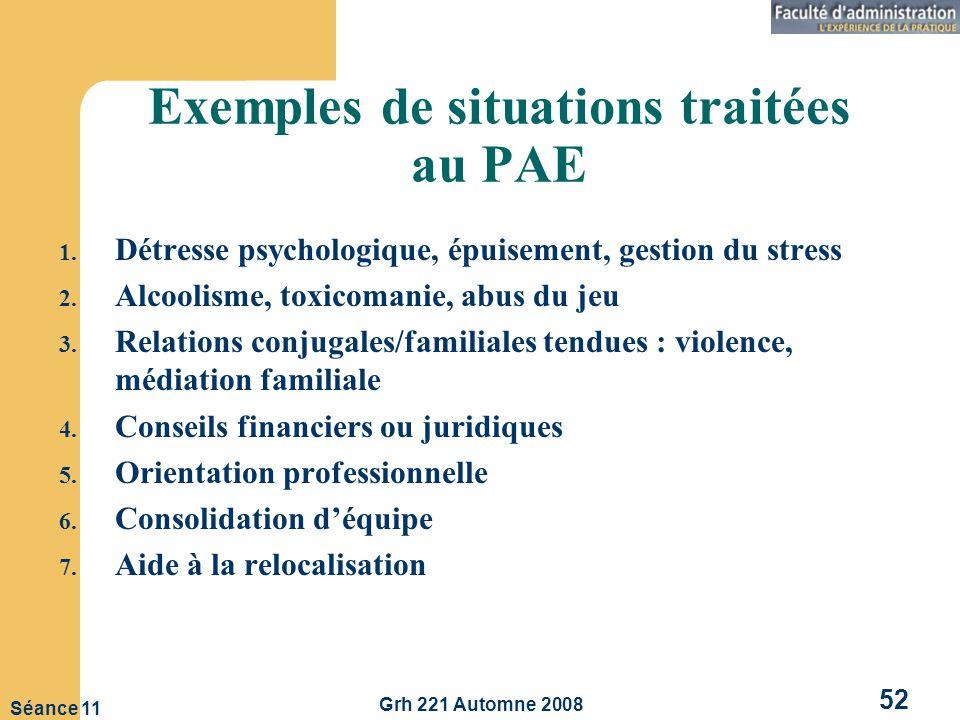 Exemples de situations traitées au PAE
