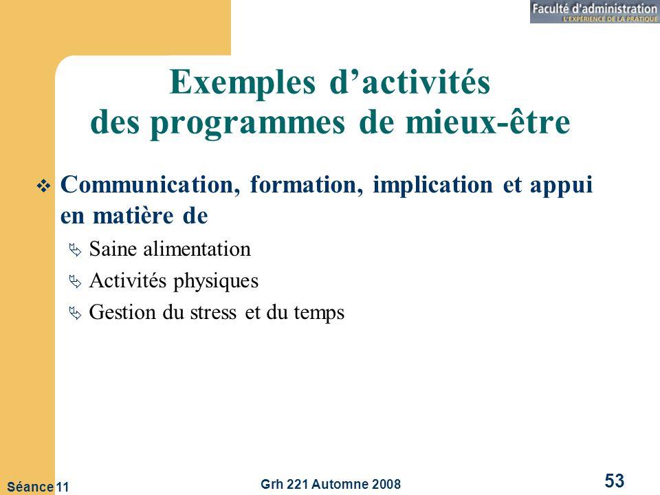 Exemples d'activités des programmes de mieux-être