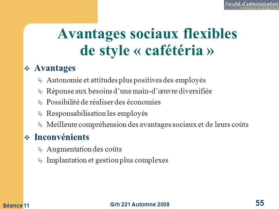Avantages sociaux flexibles de style « cafétéria »