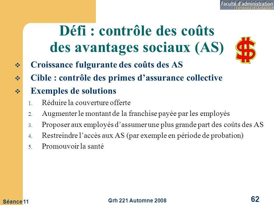 Défi : contrôle des coûts des avantages sociaux (AS)