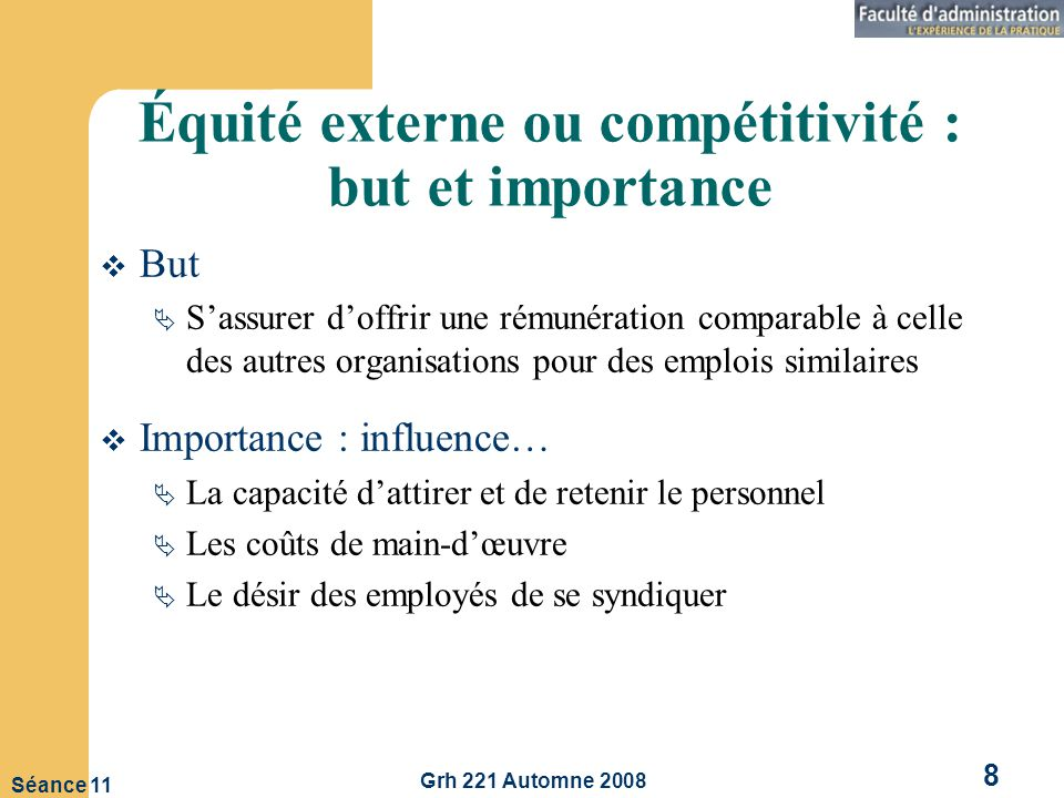 Équité externe ou compétitivité : but et importance