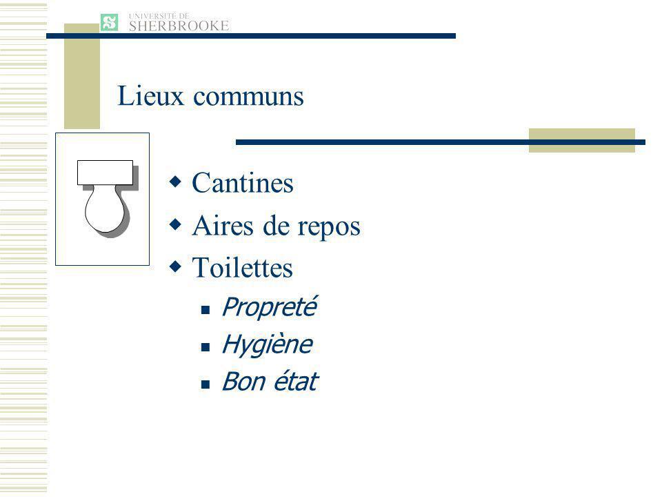 Lieux communs Cantines Aires de repos Toilettes Propreté Hygiène