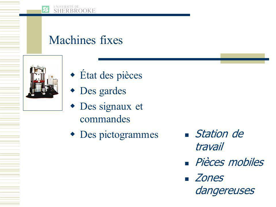 Machines fixes État des pièces Des gardes Des signaux et commandes