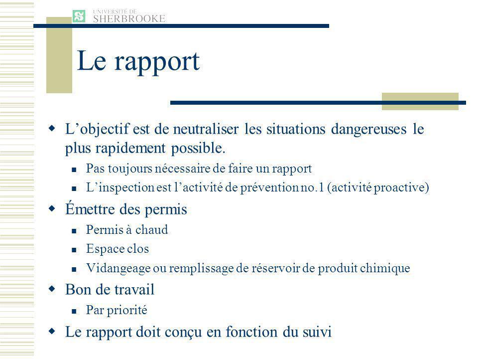 Le rapport L'objectif est de neutraliser les situations dangereuses le plus rapidement possible. Pas toujours nécessaire de faire un rapport.