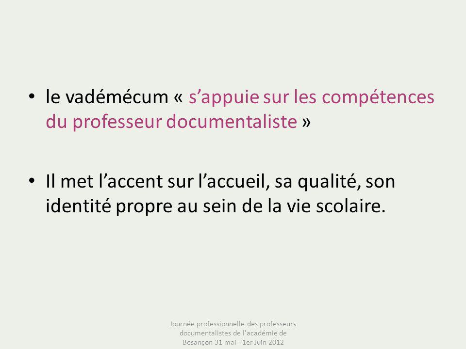 le vadémécum « s'appuie sur les compétences du professeur documentaliste »